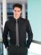 Camicia da divisa uomo elegante, maniche lunghe, modello slim fit, colore nero, tessuto cotone poliestere, easy iron, pantaloni eleganti neri