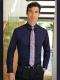 Camicia da divisa uomo elegante, maniche lunghe, modello slim fit, colore viola, tessuto cotone poliestere, easy iron, pantaloni eleganti neri