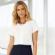 Camicia da divisa donna elegante, maniche corte, modello crepe de chine, colore bianco, tessuto poliestere elastane