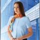 Camicia da divisa donna elegante, maniche corte, modello crepe de chine, colore azzurro, tessuto poliestere elastane