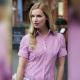 Camicia da divisa donna elegante, maniche corte, chiusura doppio bottone, colore rosa e bianco, tessuto cotone poliestere, easy iron
