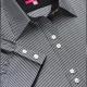 Dettaglio camicia da divisa donna elegante, maniche corte, chiusura doppio bottone, colore nero e bianco, tessuto cotone poliestere, easy iron