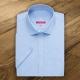 Camicia da divisa donna elegante, maniche corte, modello semi-fit, colore azzurro, tessuto poliestere cotone