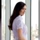 Camicia da divisa donna elegante, maniche corte a sbuffo, vestibilità regular, colore lilla, tessuto cotone poliestere, easy iron