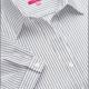 Camicia da divisa a righe donna elegante, maniche corte a sbaffo, colore bianco e nero, tessuto cotone poliestere, easy iron