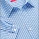 Camicia da divisa a righe donna elegante, maniche corte a sbaffo, colore azzurro, tessuto cotone poliestere, easy iron