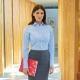 Camicia da divisa donna elegante, maniche lunghe, modello semi-fit, colore bianco, tessuto cotone, easy iron, gonna elegante grigio