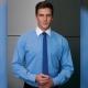 Camicia da divisa uomo elegante, maniche lunghe, modello slim fit, colore azzurro, tessuto poliestere cotone elastane