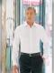 Camicia da divisa uomo elegante, maniche lunghe, modello slim fit, colore bianco, tessuto cotone poliestere, easy iron, pantaloni eleganti neri