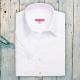 Camicia da divisa donna elegante, maniche corte a sbuffo, vestibilità regular, colore bianco, tessuto cotone poliestere, easy iron