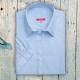 Camicia da divisa donna elegante, maniche corte a sbuffo, vestibilità regular, colore azzurro, tessuto cotone poliestere, easy iron